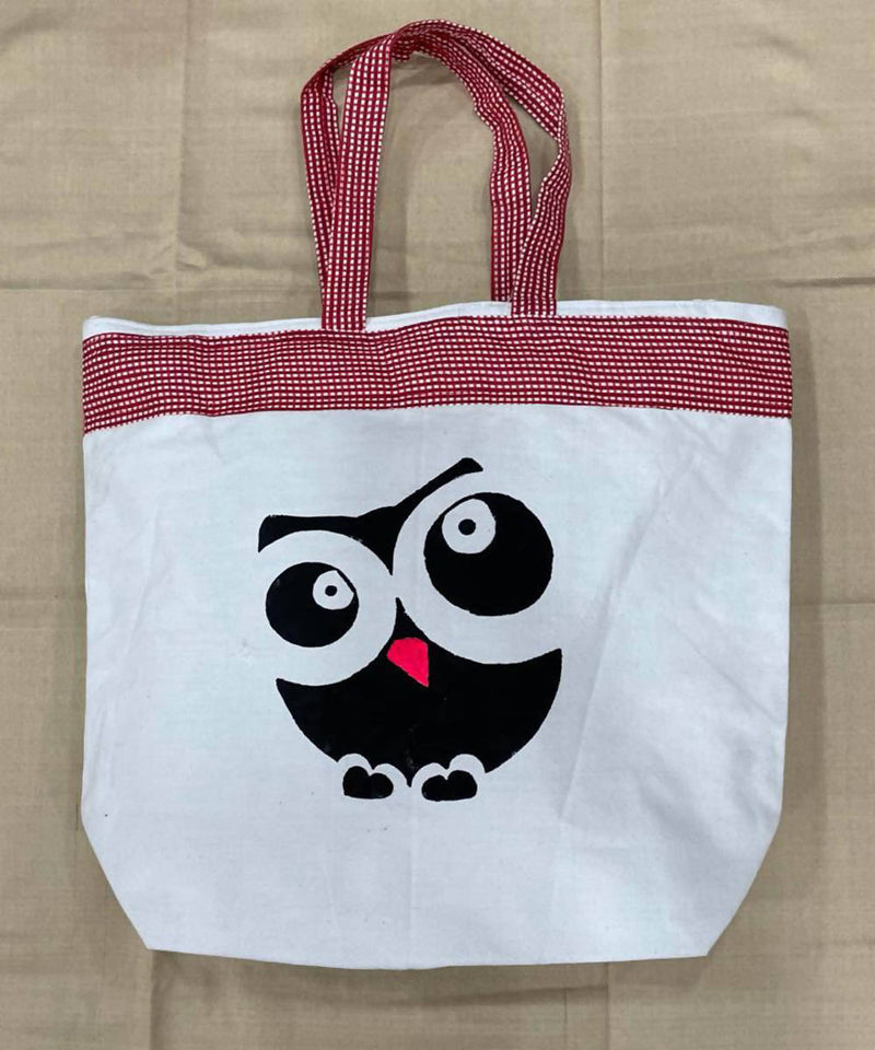 Owl motif offwhite red handwoven cotton handbag