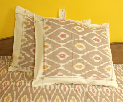 Brown and Cream Handloom Ikat Bed Sheet