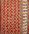 Hand Printed Kalamkari Cotton Saree In Red