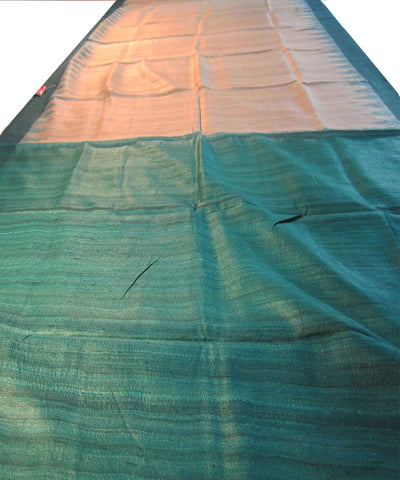 Cream and Sea Green Tussar Saree
