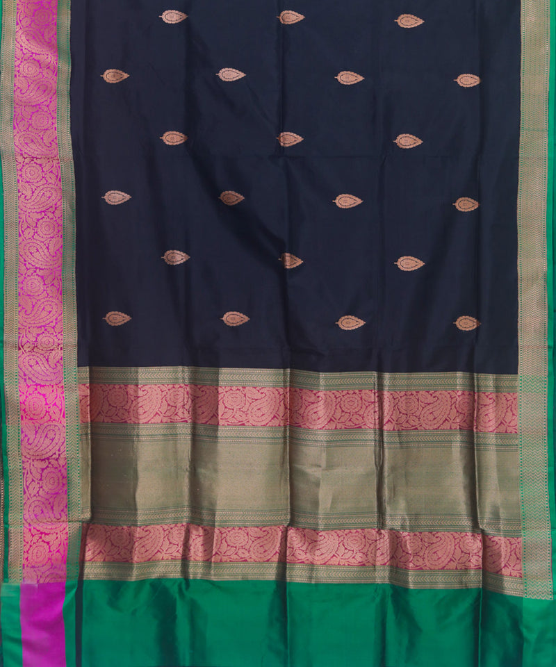 Black handloom silk banarasi saree