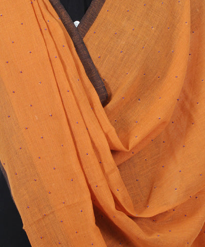 Handwoven Apricot Cotton Dupatta