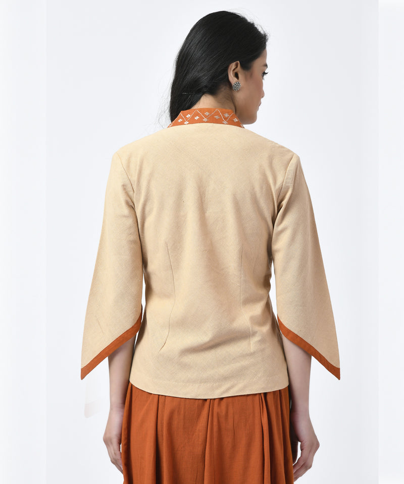 Cotton Beige and Rust Top