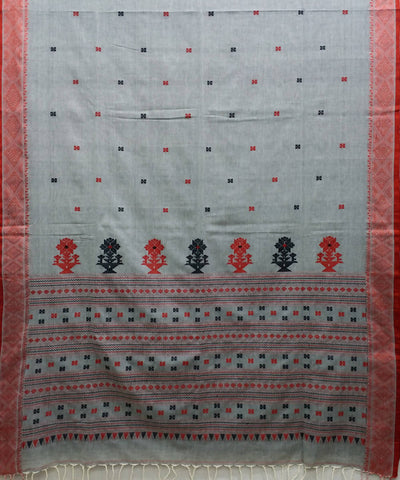 Grey handwoven bengal mercerised cotton saree