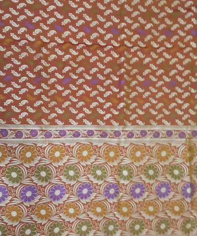 Banarasi Caramel brown Handloom Katan Silk Saree