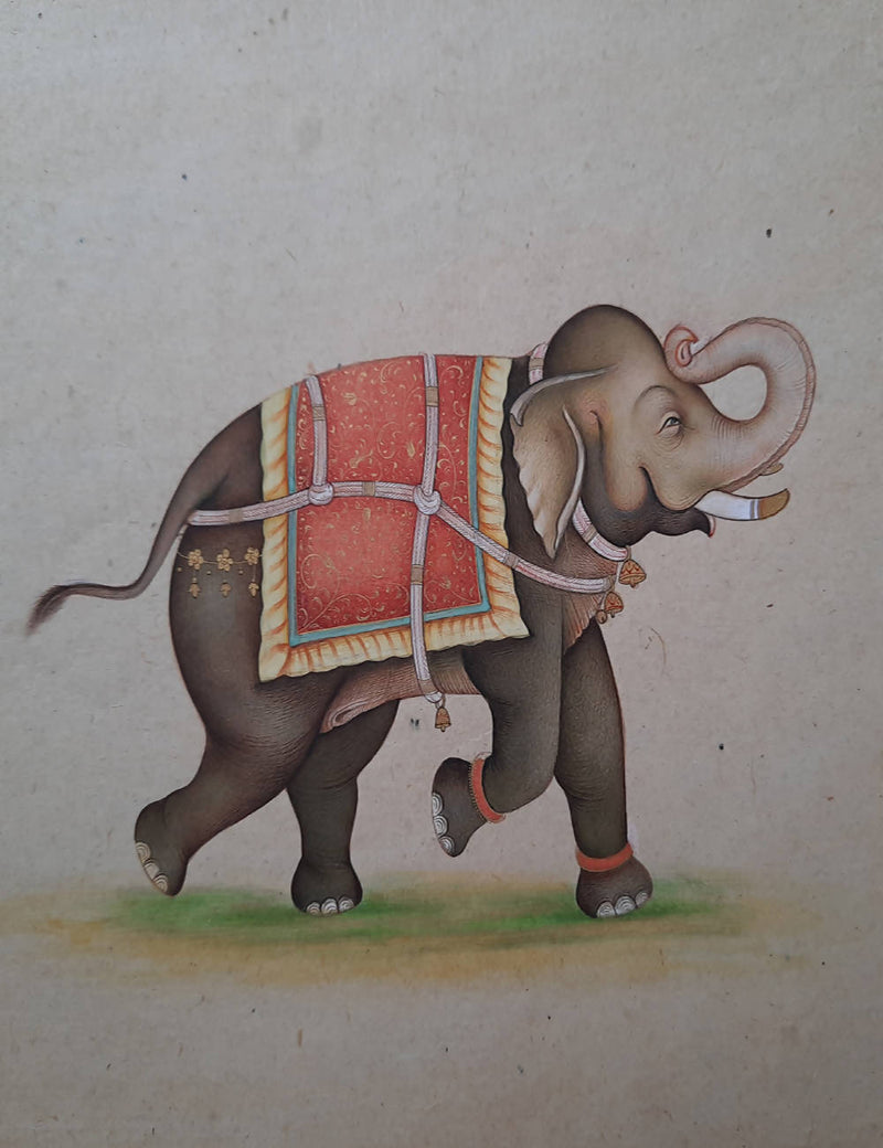 Handmade mughal elephant painting (brown hue) on handmade paper