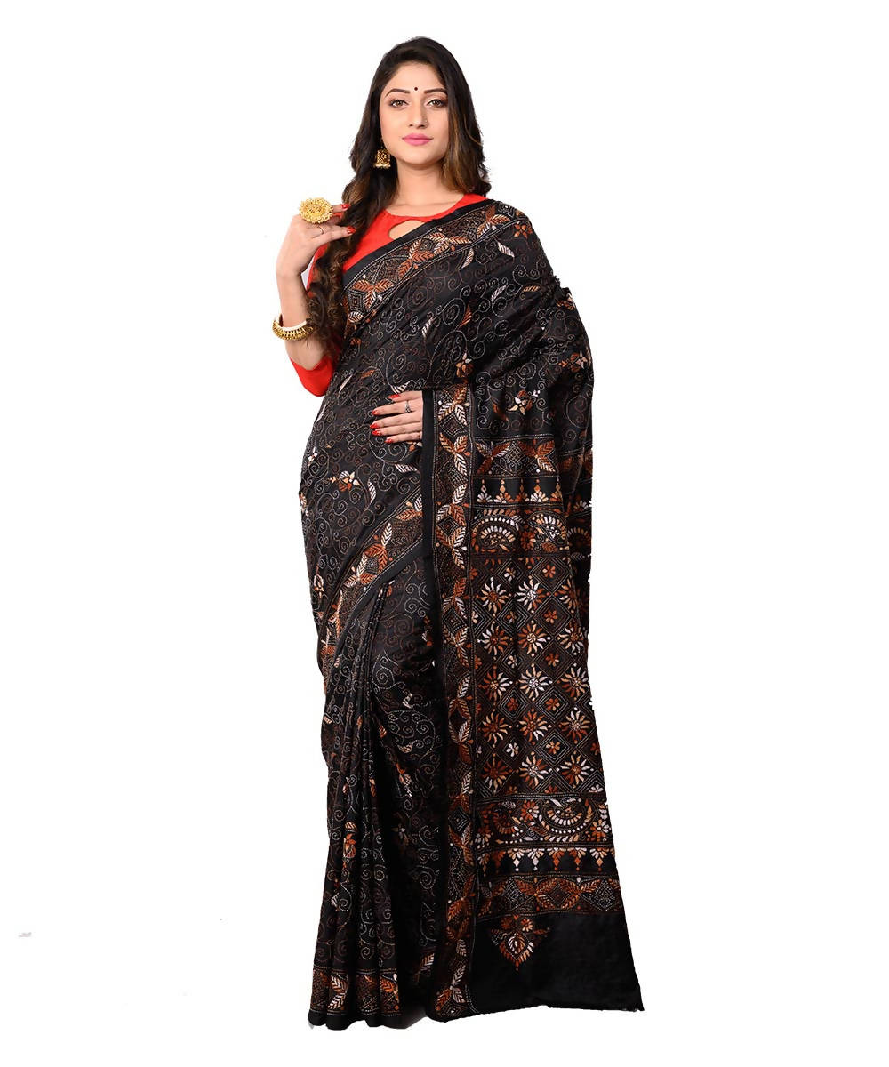Bengal Black Handcrafted Kantha Stitch Saree