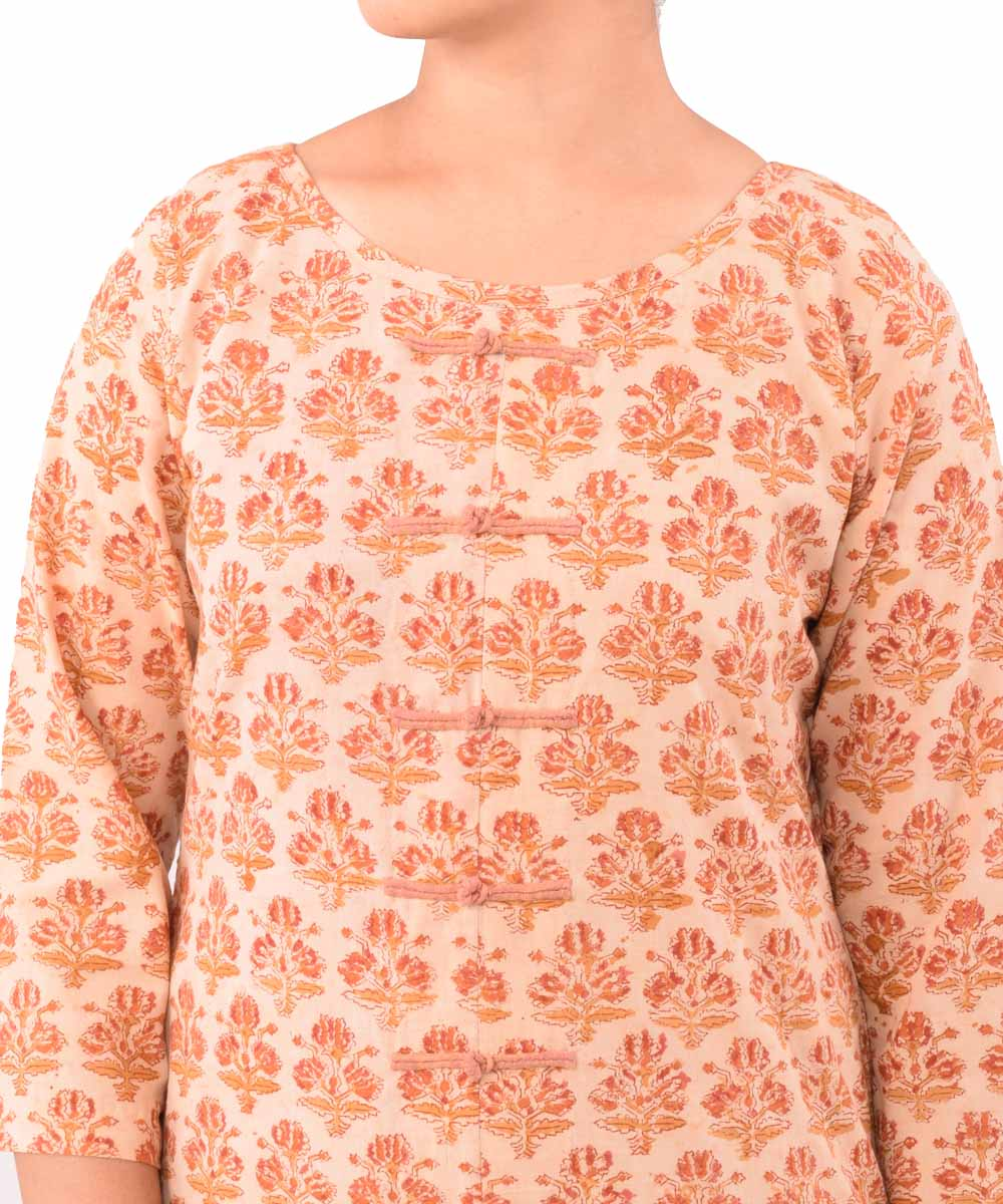 Beige and Rust Hand Printed Kurti