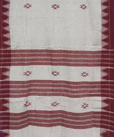 White Maroon Natural Dye Handloom Kotpad Cotton Stole