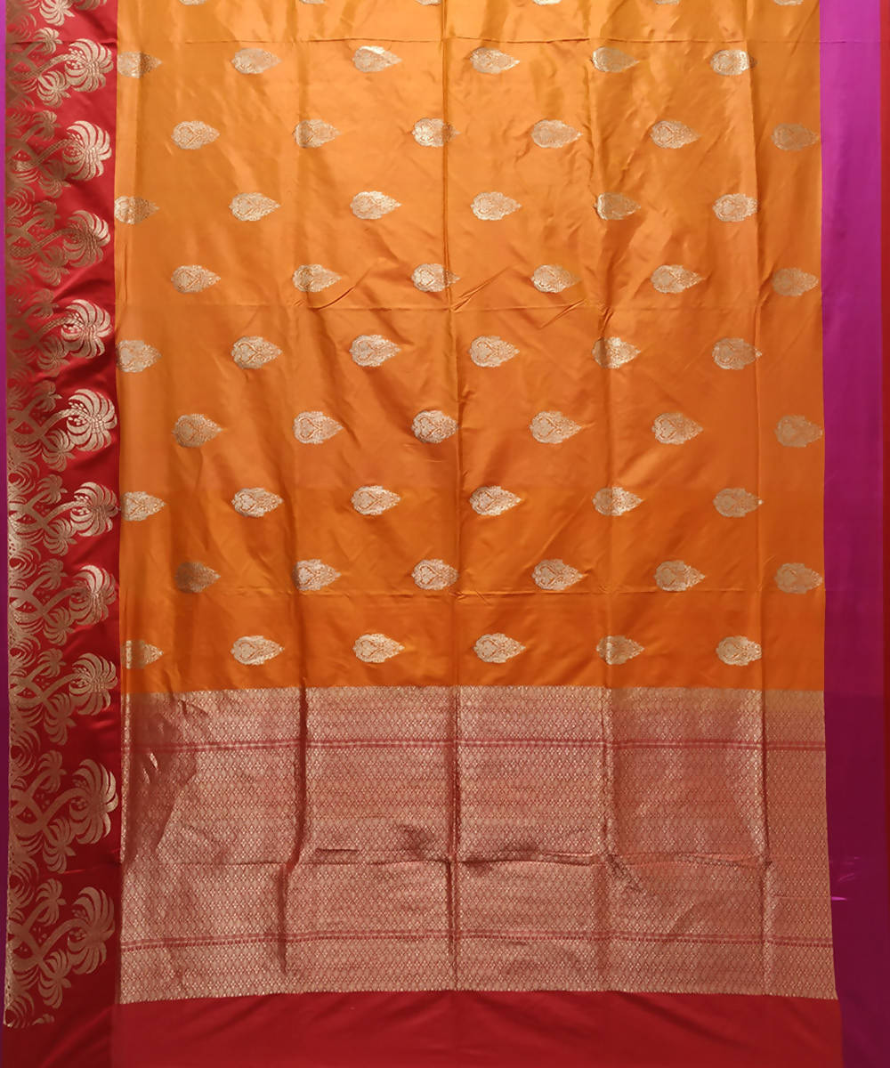 Orange and red handloom katan silk banarasi saree