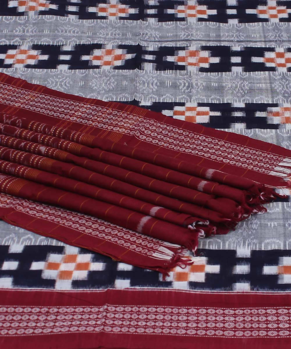 Pasapalli Blue Maroon Handloom Cotton Saree