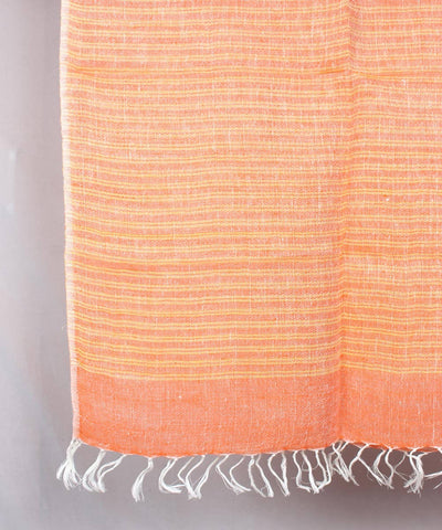 Light Orange stripe Handwoven Linen Stole