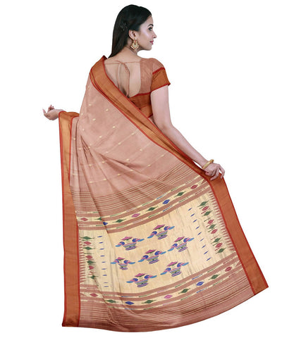 Pale Pink Handloom Paithani Cotton Saree