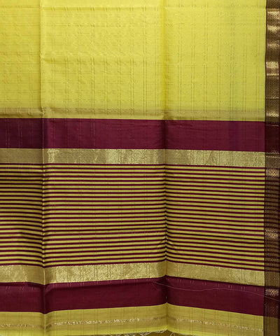 Maheshwari Yellow Handwoven Cotton Silk Saree