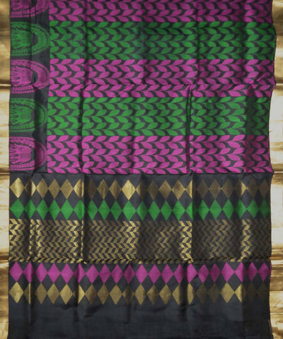 Black, Pink and Green Handloom Brocade Work Soft Silk Saree