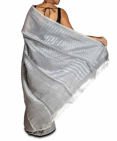 Light grey linen jamdani handwoven saree with Zari Work