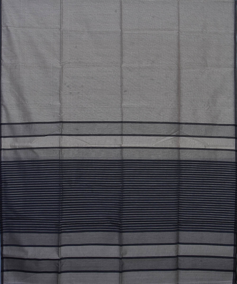 Handloom Grey Maheshwari Cotton Silk Saree