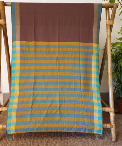 Earthy brown assam handloom cotton saree