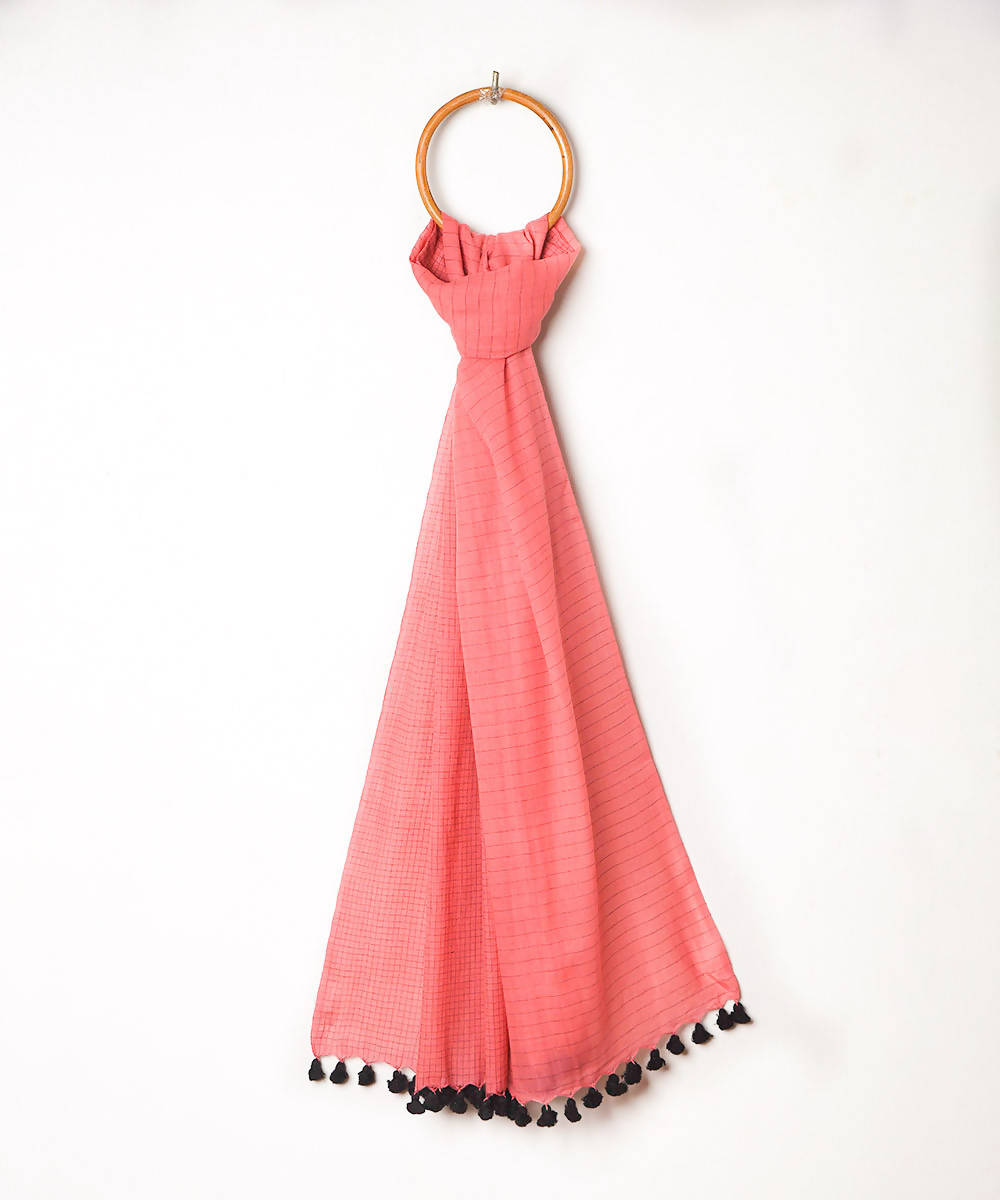 Handwoven pink checks fulia cotton stole with pom pom tassels
