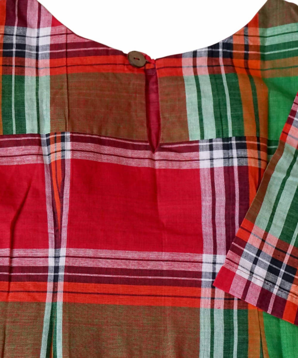 Green Red Handwoven Gamcha Checks Cotton Crop Top Blouse