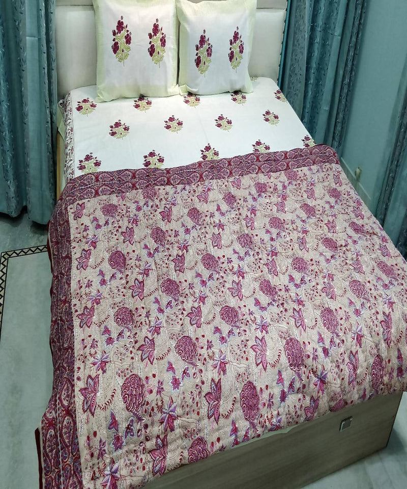 White Floral Handblock Printed Cotton Quilt