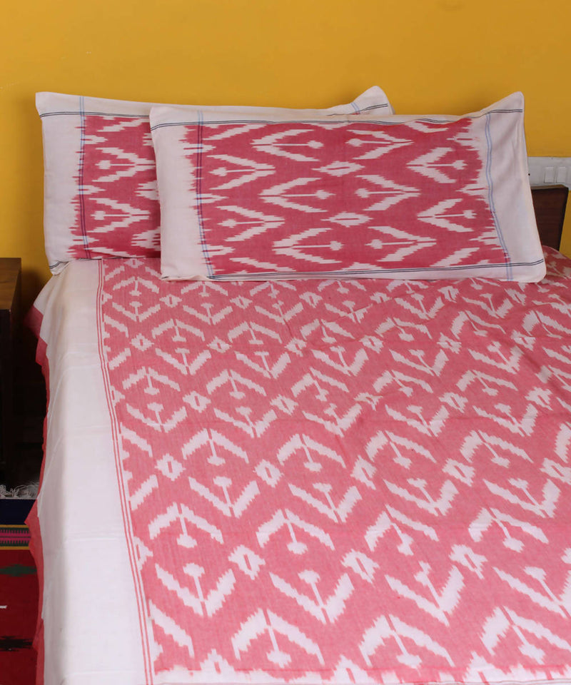 White pink pochampally ikat handwoven double bedsheet