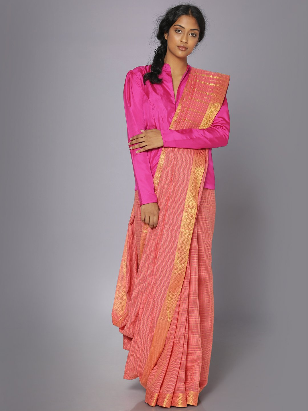 Coral pink mangalgiri cotton saree