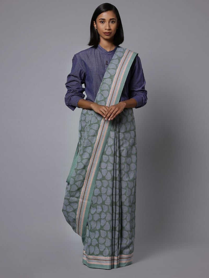 Handblock printed handloom cotton saree