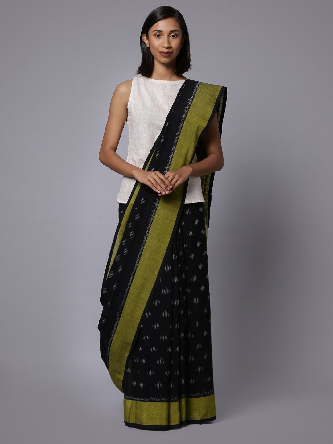 Black ikat handloom cotton saree