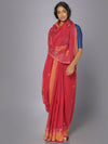 Red muslin jamdani saree