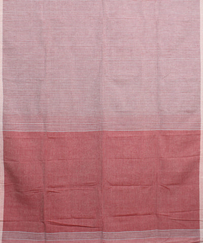 Peach and White Handwoven Linen Saree