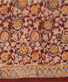 Hand Printed Kalamkari Cotton Saree in Maroon