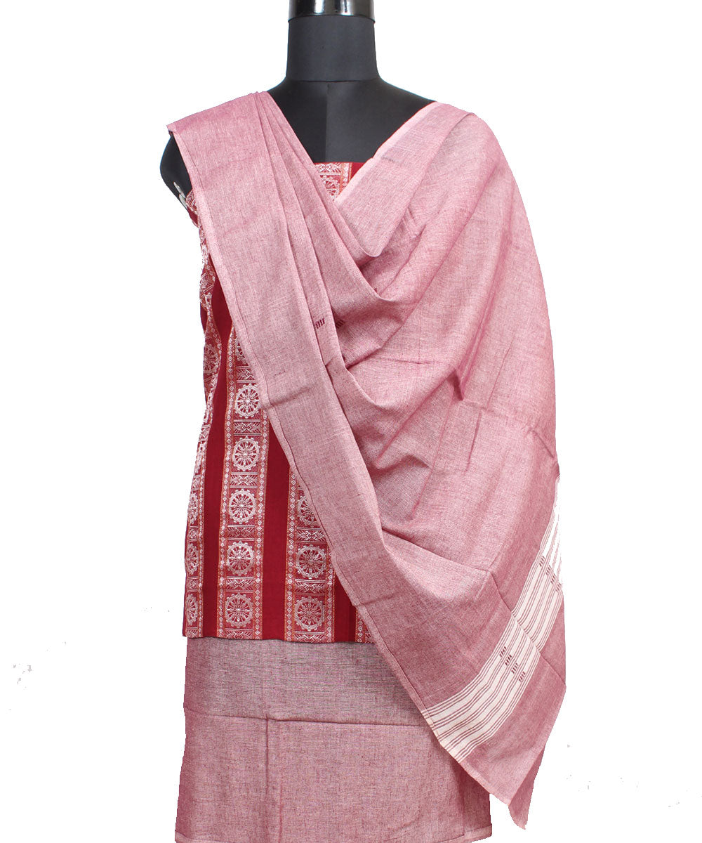 Maroon Bomkai Handloom Cotton Ikat Suit Set