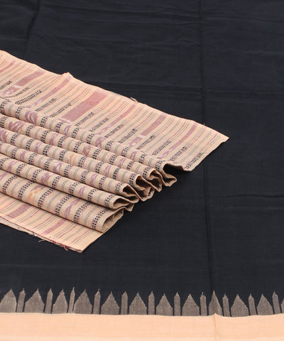 Black Beige Sambalpuri Handloom Cotton Saree