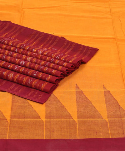 Orange Maroon Ikat Handloom Cotton Saree
