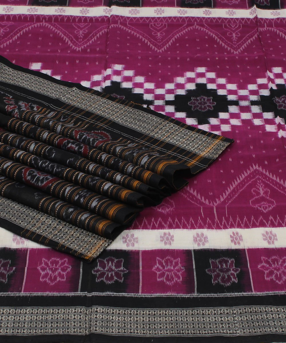 Purple Black Pasapalli Cotton Ikat Saree