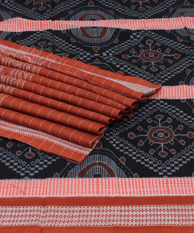 Black Rust Sambalpuri Cotton Ikat Saree