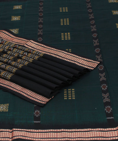 Bomkai Green Black Handloom Cotton Ikat Saree
