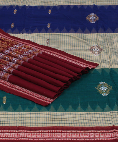 Cream Stripe Bomkai Cotton Ikat Saree