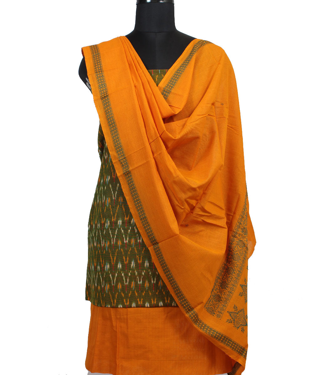 Green Orange Sambalpuri Cotton Suit Set