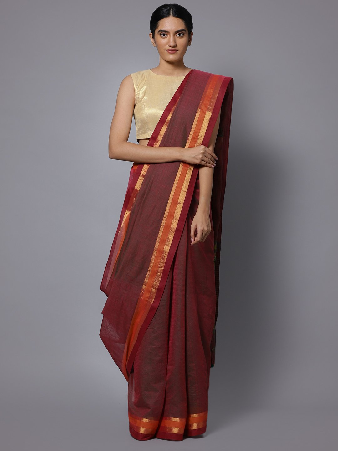 Red maroon hand embroidery cotton saree