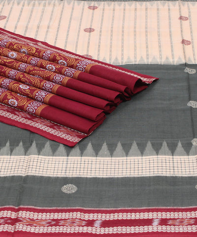 Olive Beige Bomkai Handloom Cotton Saree