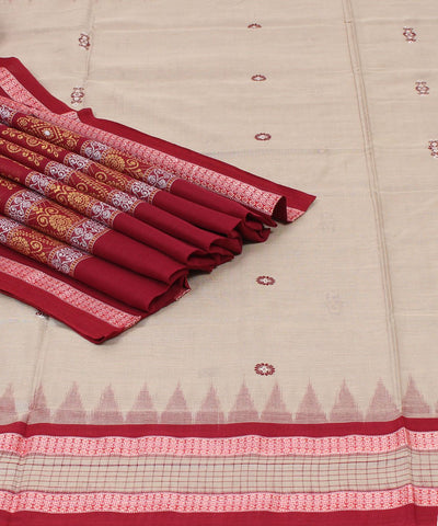 Artichoke Maroon Bomkai Cotton Handloom Saree