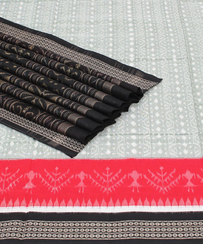 Grey Black Sambalpuri Handloom Cotton Saree