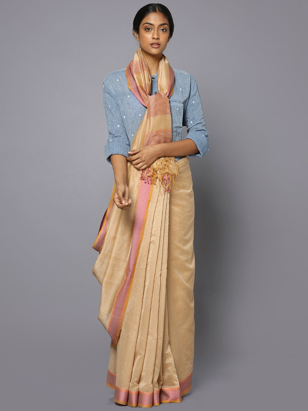 Striped beige silk cotton maheshwari saree