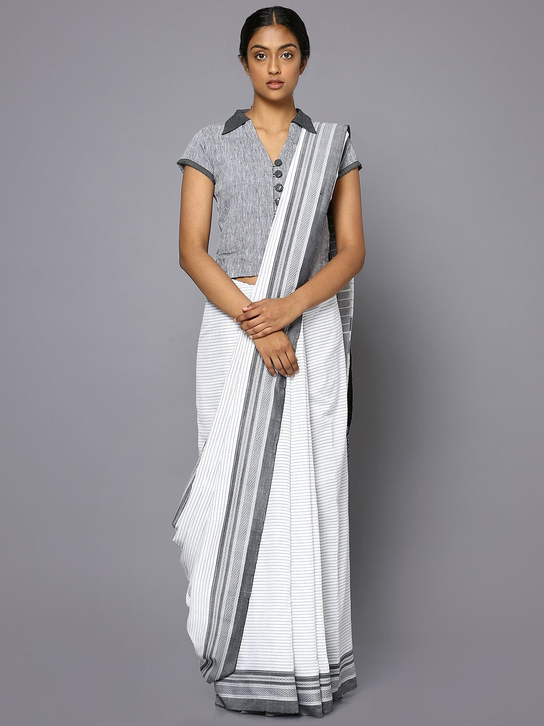 Grey striped white ilkal cotton saree