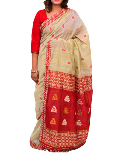 Beige and Red Assam Handloom Cotton Saree