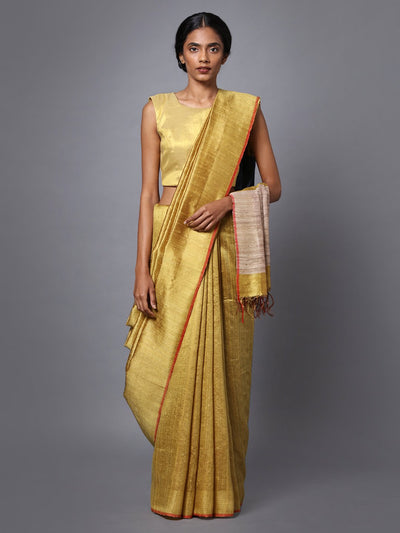 Golden Yellow Handloom Tussar Silk Saree