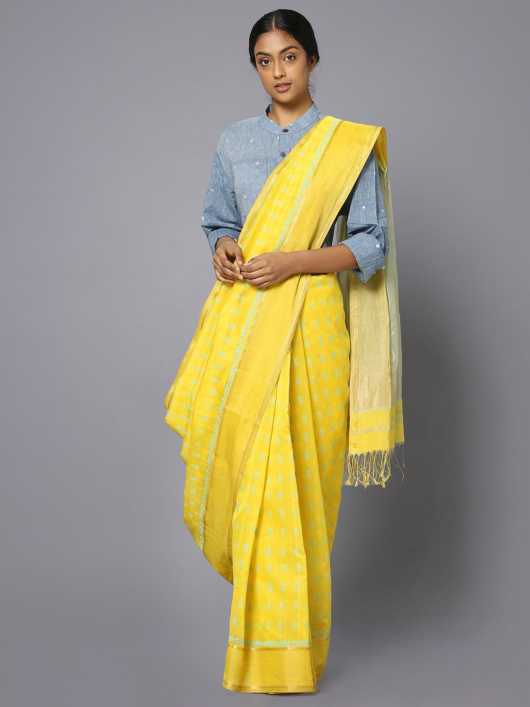 Yellow silk cotton printed maheshwari saree