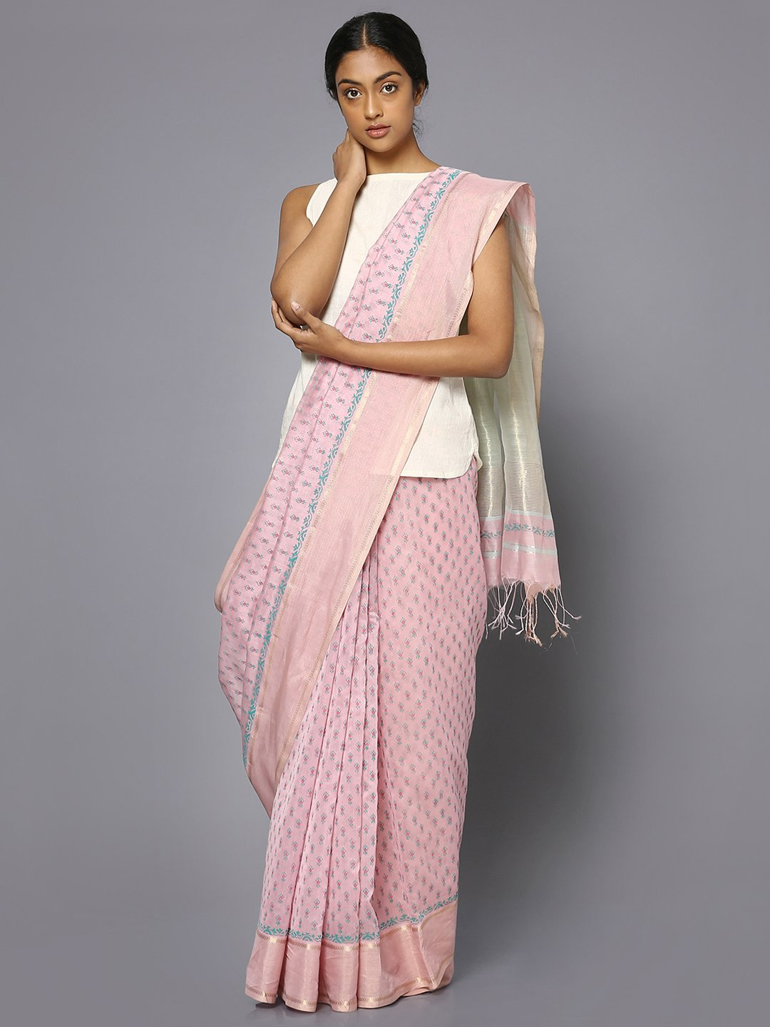 Pink silk cotton printed maheshwari saree